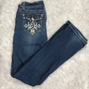 LA Idol USA Rhinestone & Plain Studs Jeans